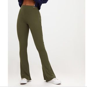 Olive Green Ribbed Flare Pants